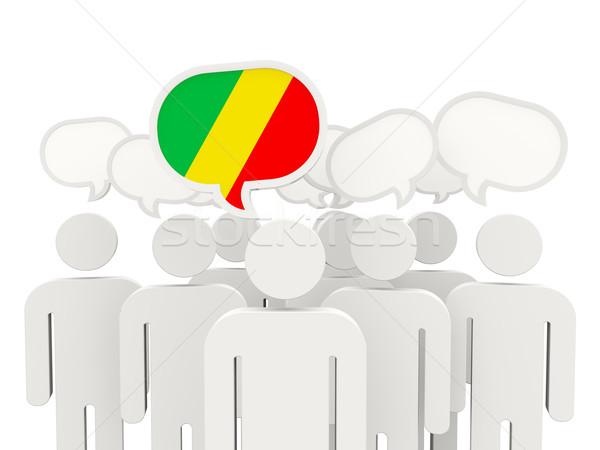 Personas bandera república Congo aislado blanco Foto stock © MikhailMishchenko