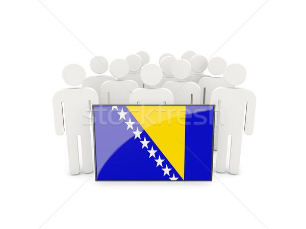 Foto stock: Personas · bandera · Bosnia · Herzegovina · aislado · blanco · multitud