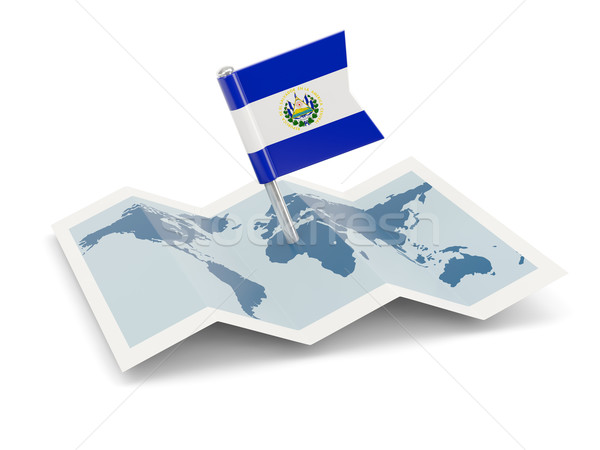 Map with flag of el salvador Stock photo © MikhailMishchenko