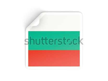 квадратный наклейку флаг Габон изолированный белый Сток-фото © MikhailMishchenko