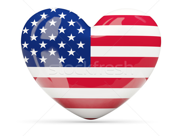 Heart shaped icon with flag of united states of america Stock photo © MikhailMishchenko