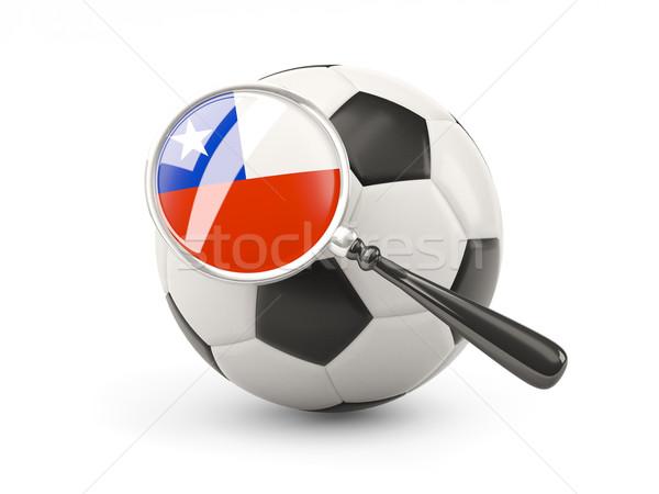 Futball nagyított zászló Chile izolált fehér Stock fotó © MikhailMishchenko