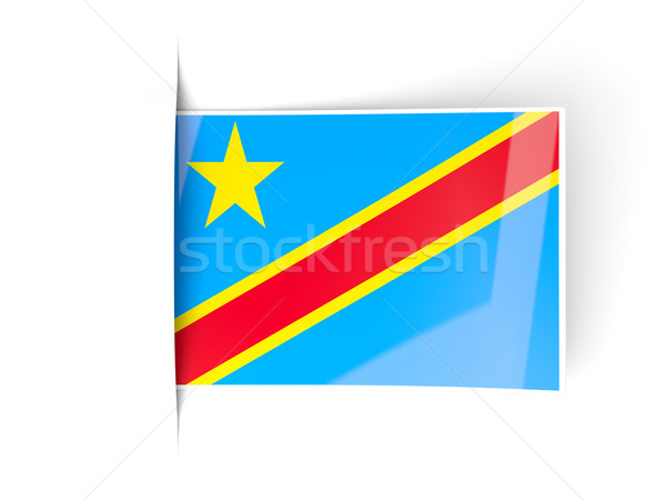 Kare etiket bayrak demokratik cumhuriyet Kongo Stok fotoğraf © MikhailMishchenko