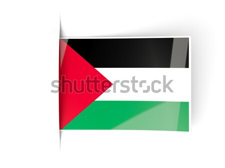 Square label with flag of palestinian territory Stock photo © MikhailMishchenko