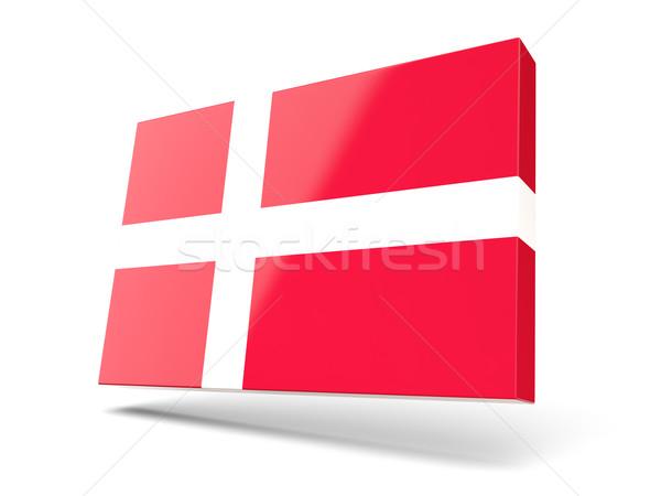 Vierkante icon vlag Denemarken geïsoleerd witte Stockfoto © MikhailMishchenko