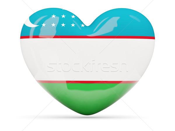 Szív alakú ikon zászló Üzbegisztán izolált Stock fotó © MikhailMishchenko