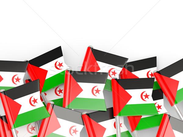 Foto stock: Bandera · pin · occidental · sáhara · aislado · blanco