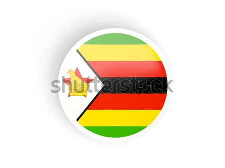 Round sticker with flag of zimbabwe Stock photo © MikhailMishchenko