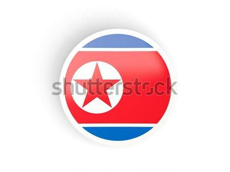 Round sticker with flag of korea north Stock photo © MikhailMishchenko