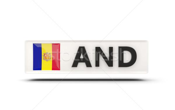 Piazza icona bandiera Andorra iso codice Foto d'archivio © MikhailMishchenko