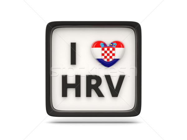 Amour Croatie signe isolé blanche pavillon Photo stock © MikhailMishchenko