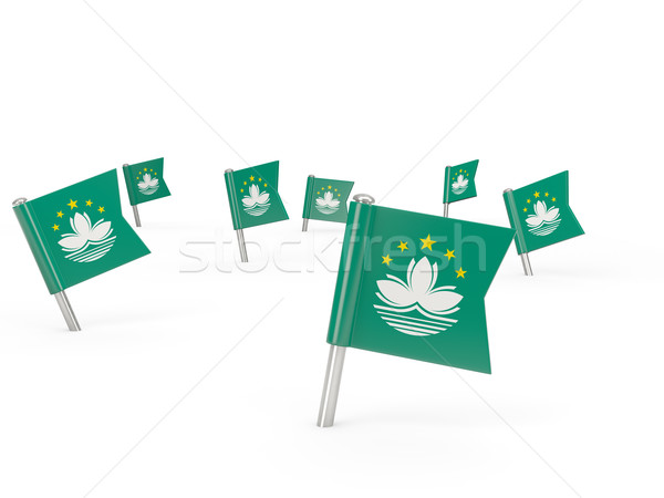 Square pins with flag of macao Stock photo © MikhailMishchenko