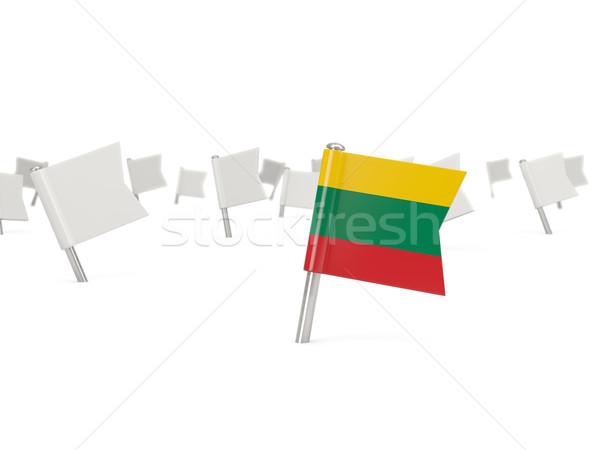 Vierkante pin vlag Litouwen geïsoleerd witte Stockfoto © MikhailMishchenko