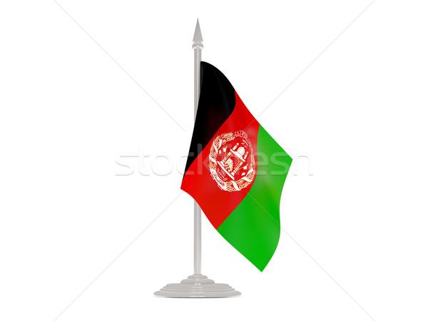 Banderą Afganistan maszt 3d odizolowany biały Zdjęcia stock © MikhailMishchenko