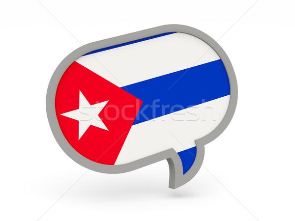 Chat ikon zászló Kuba izolált fehér Stock fotó © MikhailMishchenko