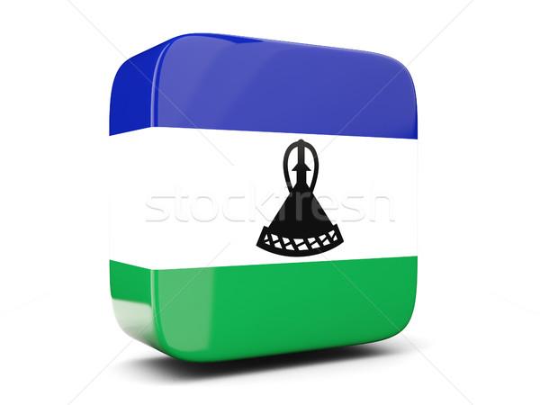 Placu ikona banderą Lesotho 3d ilustracji odizolowany Zdjęcia stock © MikhailMishchenko