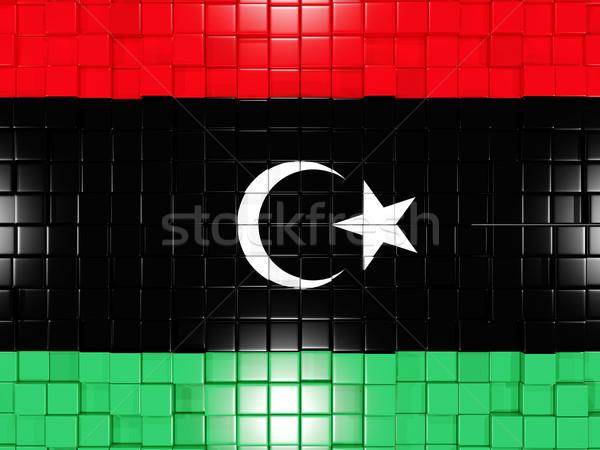 Placu banderą Libia 3d ilustracji mozaiki Zdjęcia stock © MikhailMishchenko