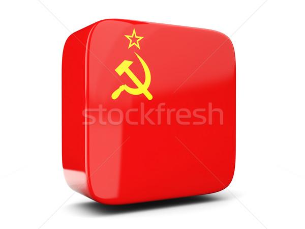 Kare ikon bayrak sscb 3d illustration yalıtılmış Stok fotoğraf © MikhailMishchenko