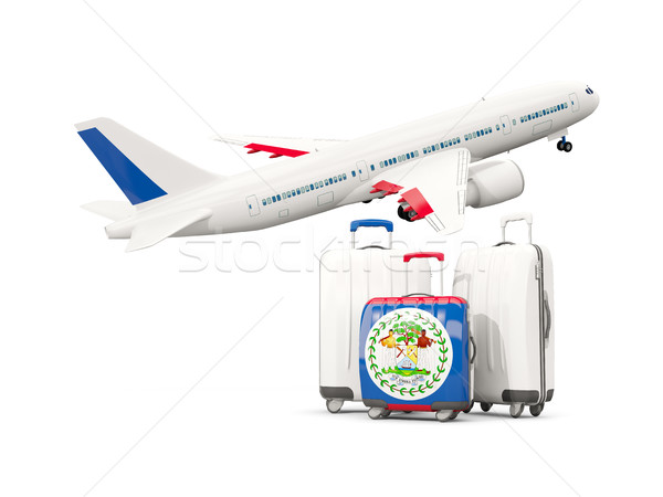 Stock fotó: Csomagok · zászló · három · szatyrok · repülőgép · izolált