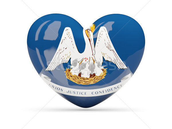 флаг сердце икона изолированный белый 3d иллюстрации Сток-фото © MikhailMishchenko