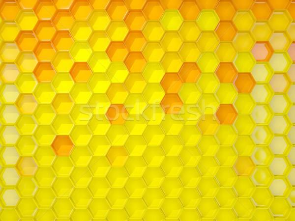 Amarelo hexágono padrão ilustração 3d fundo industrial Foto stock © MikhailMishchenko