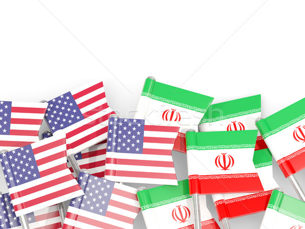 Flag pins of USA and Iraq isolated on white. 3D illustration Stock photo © MikhailMishchenko