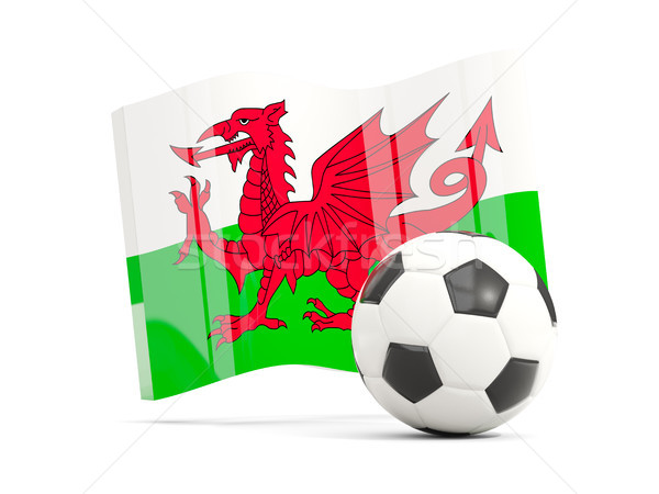 Football with waving flag of wales isolated on white Stock photo © MikhailMishchenko
