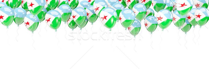 Balony ramki banderą Dżibuti odizolowany biały Zdjęcia stock © MikhailMishchenko