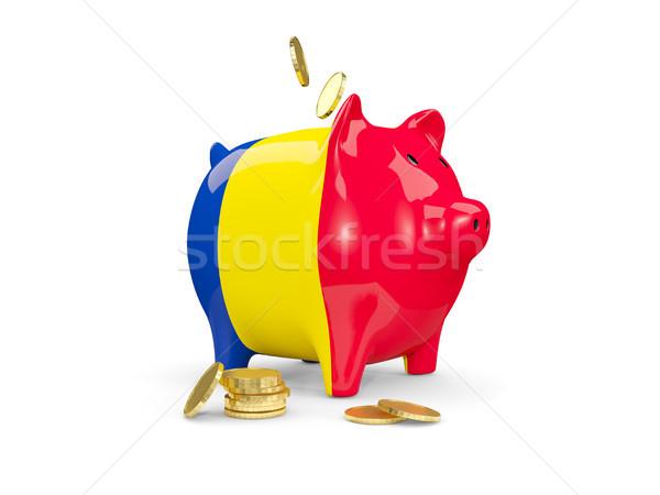 Gordura piggy bank Romênia dinheiro isolado branco Foto stock © MikhailMishchenko