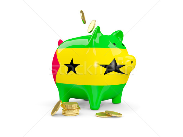 Fat piggy bank with fag of sao tome and principe Stock photo © MikhailMishchenko