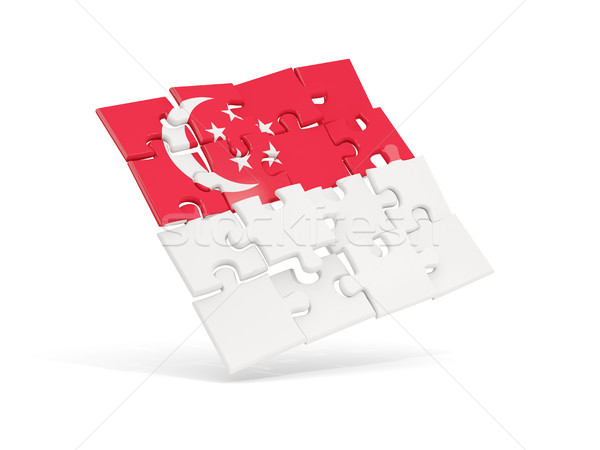 Puzzle pavillon Singapour isolé blanche 3d illustration Photo stock © MikhailMishchenko