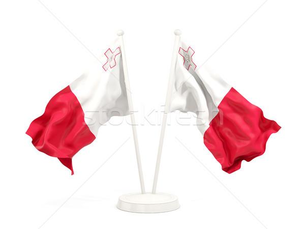 Dwa flagi Malta odizolowany biały Zdjęcia stock © MikhailMishchenko