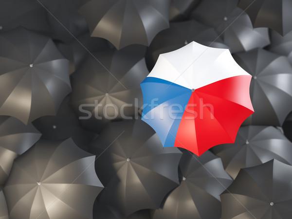 Guarda-chuva bandeira República Checa topo preto guarda-chuvas Foto stock © MikhailMishchenko