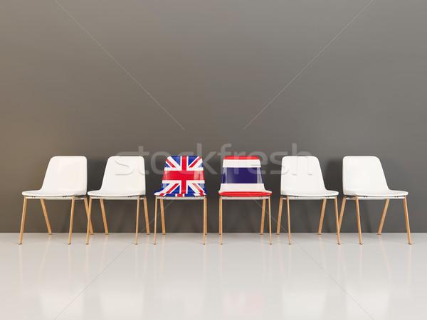 Székek zászló Egyesült Királyság Thaiföld csetepaté 3d illusztráció Stock fotó © MikhailMishchenko