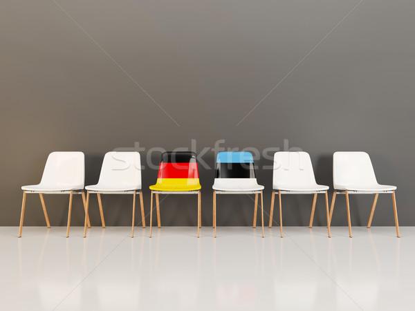 Сток-фото: стульев · флаг · Германия · Эстония · 3d · иллюстрации