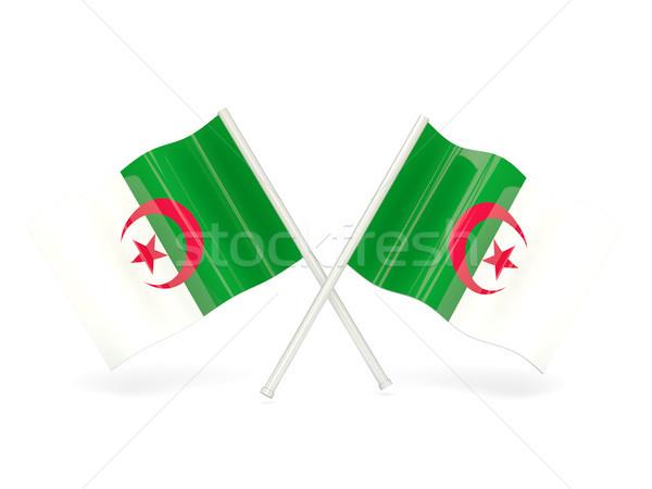 флаг Алжир два волнистый флагами изолированный Сток-фото © MikhailMishchenko