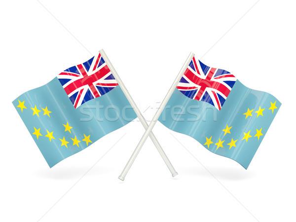 Bandeira Tuvalu dois ondulado bandeiras isolado Foto stock © MikhailMishchenko