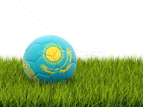 футбола флаг Казахстан зеленая трава Футбол области Сток-фото © MikhailMishchenko