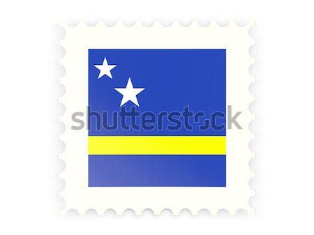 Postabélyeg ikon izolált fehér posta zászló Stock fotó © MikhailMishchenko