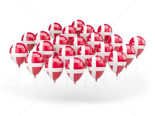 Balões bandeira Dinamarca isolado branco país Foto stock © MikhailMishchenko