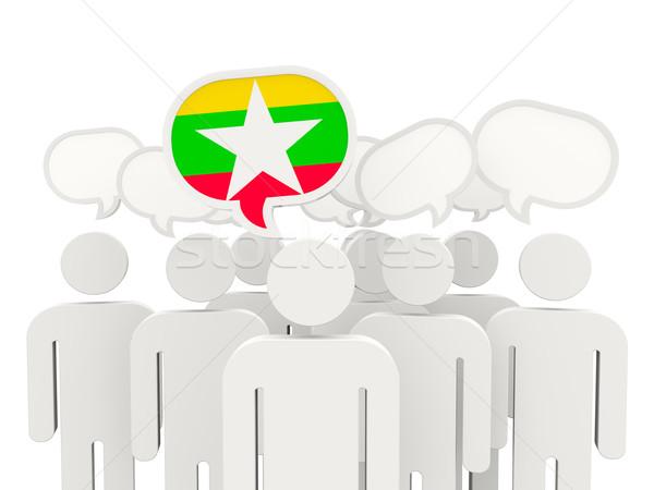 Pessoas bandeira Mianmar isolado branco reunião Foto stock © MikhailMishchenko