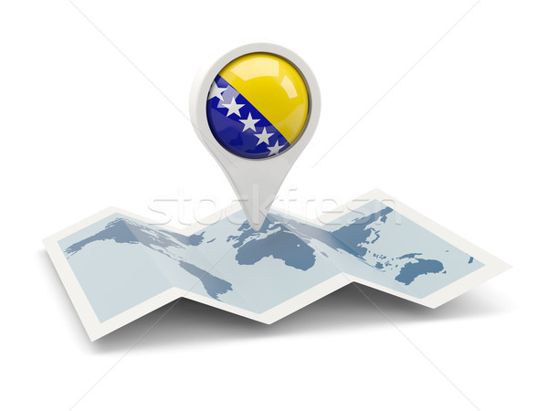 Pin bandera Bosnia Herzegovina mapa viaje blanco Foto stock © MikhailMishchenko