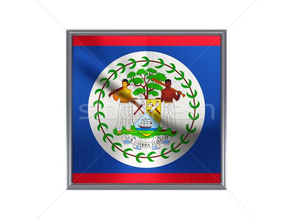 Tér fém gomb zászló Belize izolált Stock fotó © MikhailMishchenko