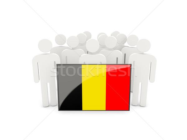 Pessoas bandeira Bélgica isolado branco multidão Foto stock © MikhailMishchenko