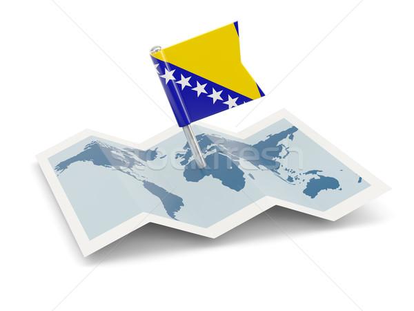 Mapa bandera Bosnia Herzegovina aislado blanco búsqueda Foto stock © MikhailMishchenko
