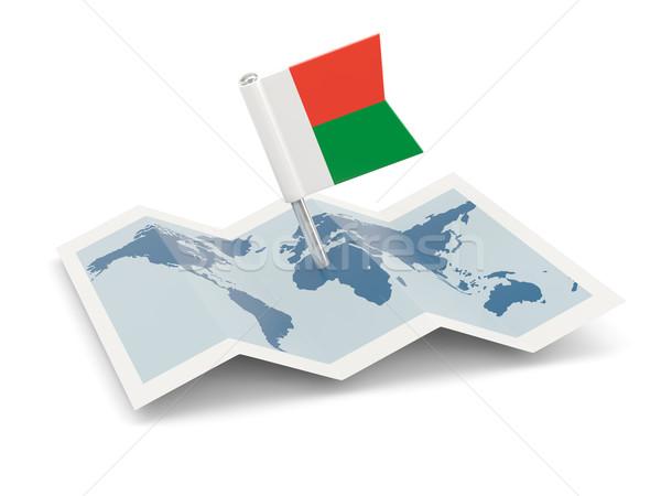 地図 フラグ マダガスカル 孤立した 白 ストックフォト © MikhailMishchenko