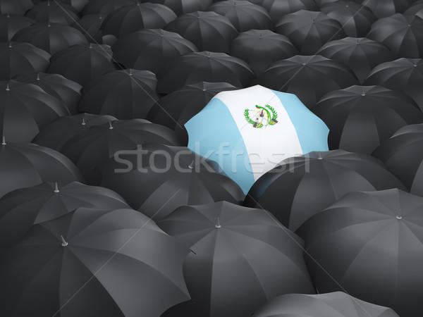 Guarda-chuva bandeira Guatemala preto guarda-chuvas chuva Foto stock © MikhailMishchenko
