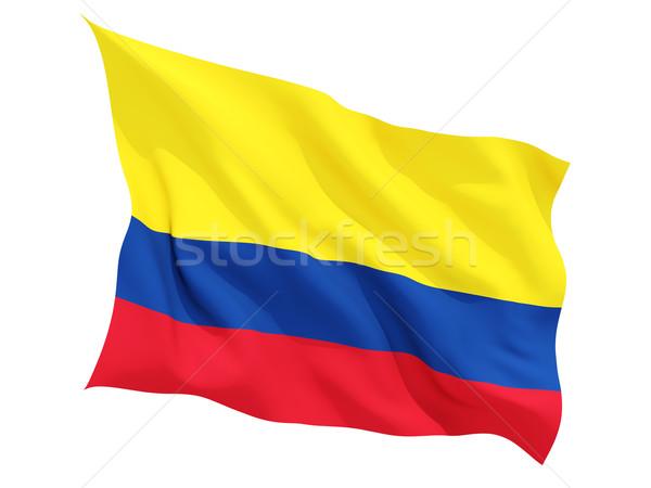 Stockfoto: Vlag · Colombia · geïsoleerd · witte
