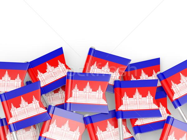 Zászló tő Kambodzsa izolált fehér háttér Stock fotó © MikhailMishchenko