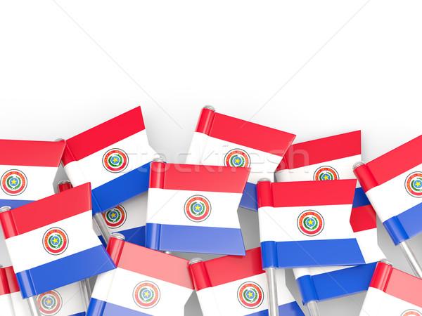 Banderą pin Paragwaj odizolowany biały tle Zdjęcia stock © MikhailMishchenko